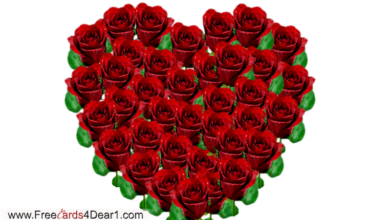 Roses Background In Heart Shape