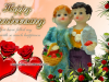Happy Anniversary Greeting Card Of Cute Couples
