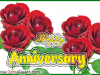Happy Anniversary Greeting Ecard With Bunch Of Roses