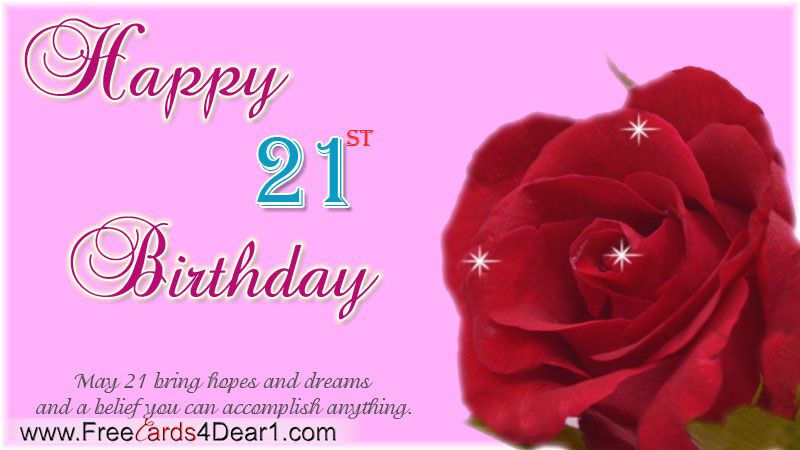 21th Birthday Greeting Card 21st Greetings