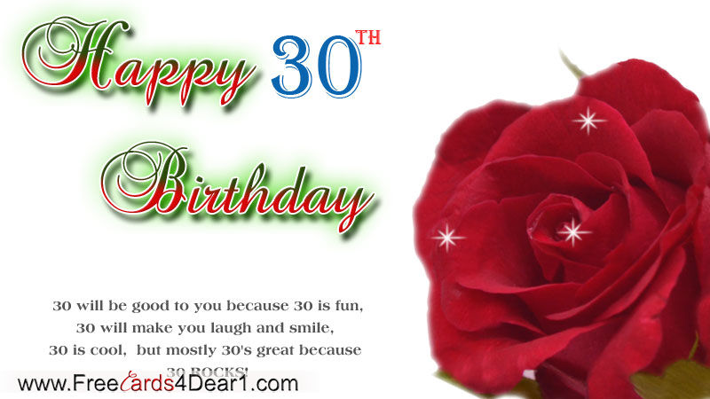 Happy 30th Birthday Greeting Ecard