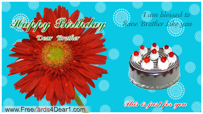 Happy Birthday Greeting Card For Dear Brother
