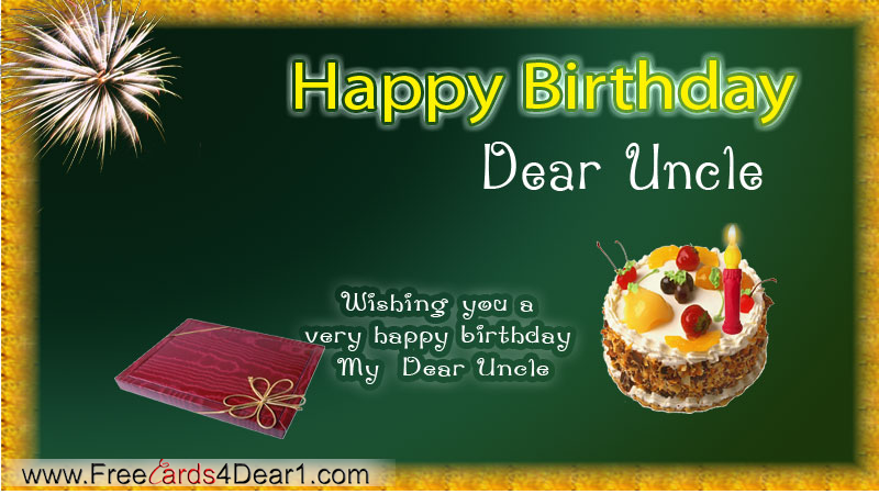 Happy Birthday Greeting Ecard For Dear Uncle