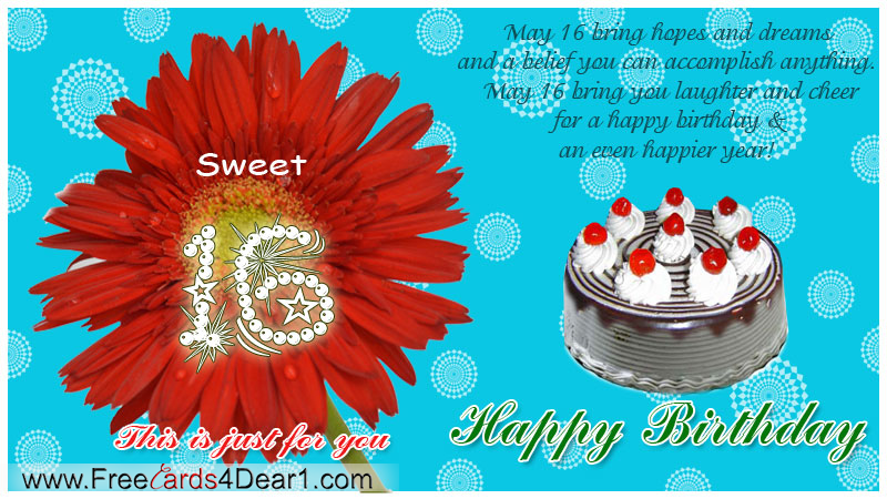 Sweet 16 Birthday Greeting Ecard Greeting cards