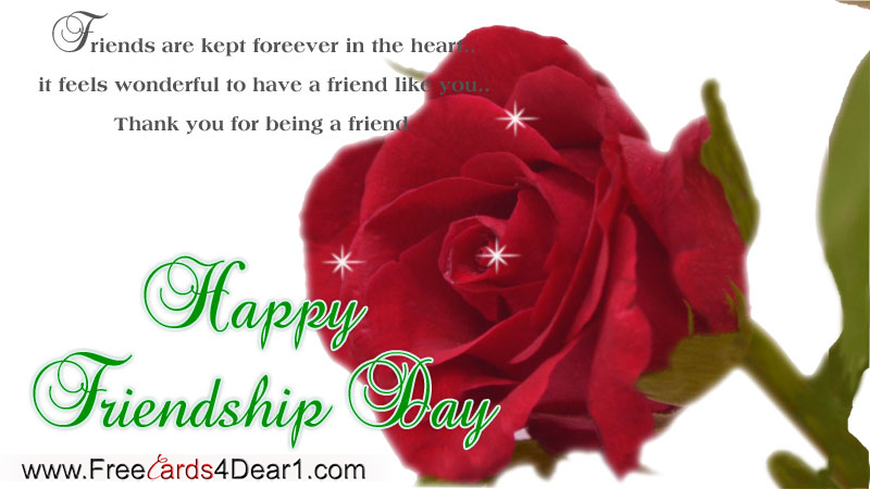 Happy Friendship Day Greeting Card With Beautiful Rose
