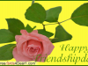 Happy Friendship Day Card With Pink Rose